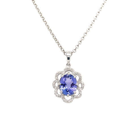 Oval-cut Tanzanite and Diamond Pendant