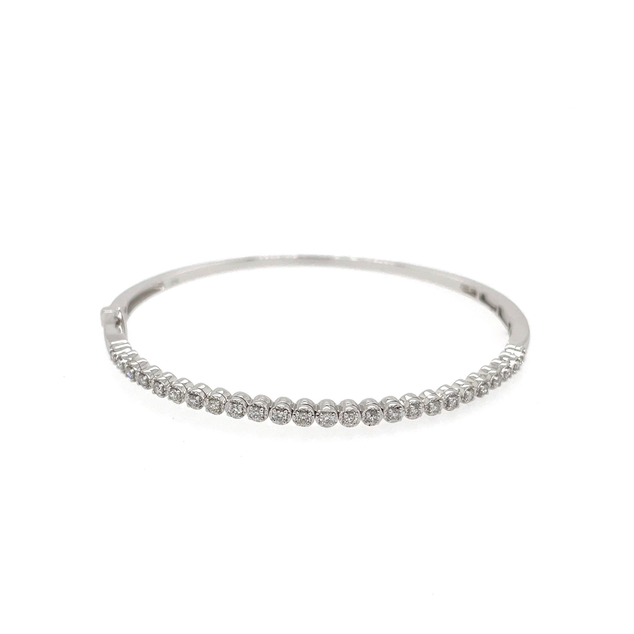 White Gold Diamond Bangle, with hinged opening for a perfect fit