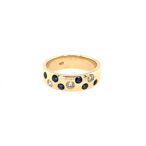 Sapphire and Diamond Scatter Ring