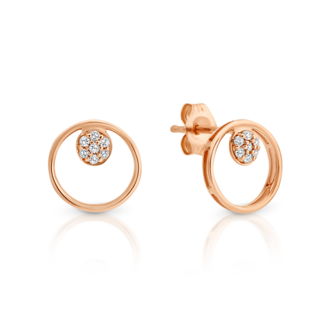 Rose Gold Diamond Circle Stud Earrings