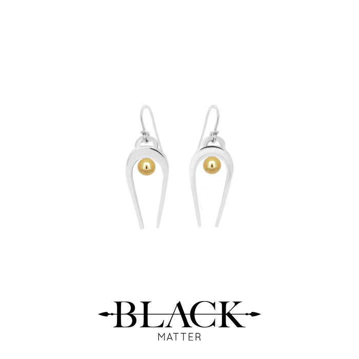 Black Matter Penumbra Earrings in silver and gold
