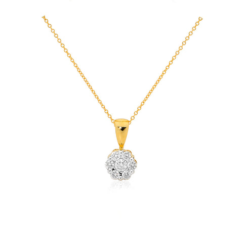 Yellow gold diamond cluster pendant on a gold chain