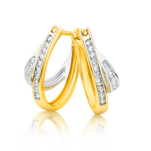 two-tone diamond huggie earrings
