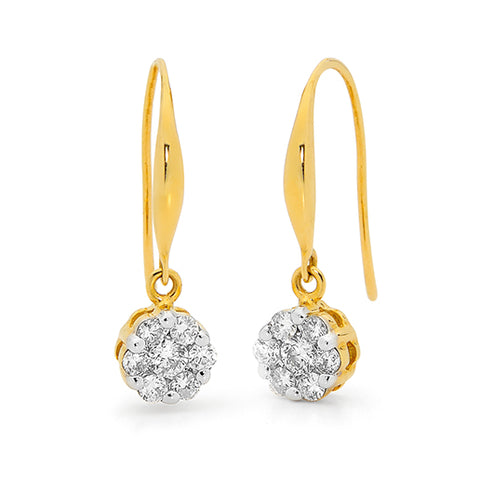 Yellow gold diamond cluster drop earrings with a hook fitting