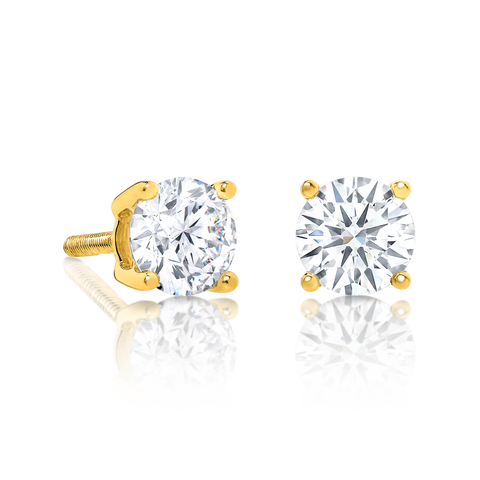 Signature Solitaire Diamond Stud Earrings, set in 9ct Yellow Gold.