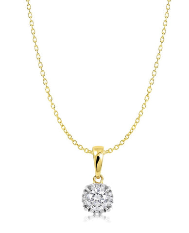 Diamond halo pendant set in yellow gold