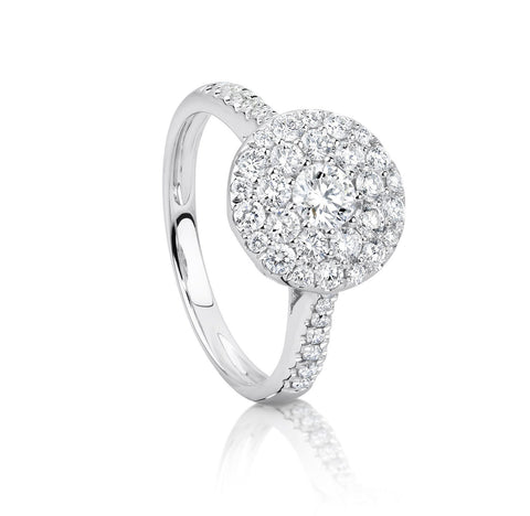 Diamond cluster ring set in white gold