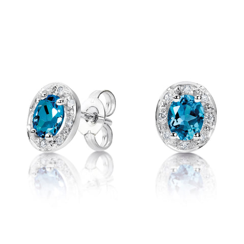 London blue topaz and diamond stud earrings