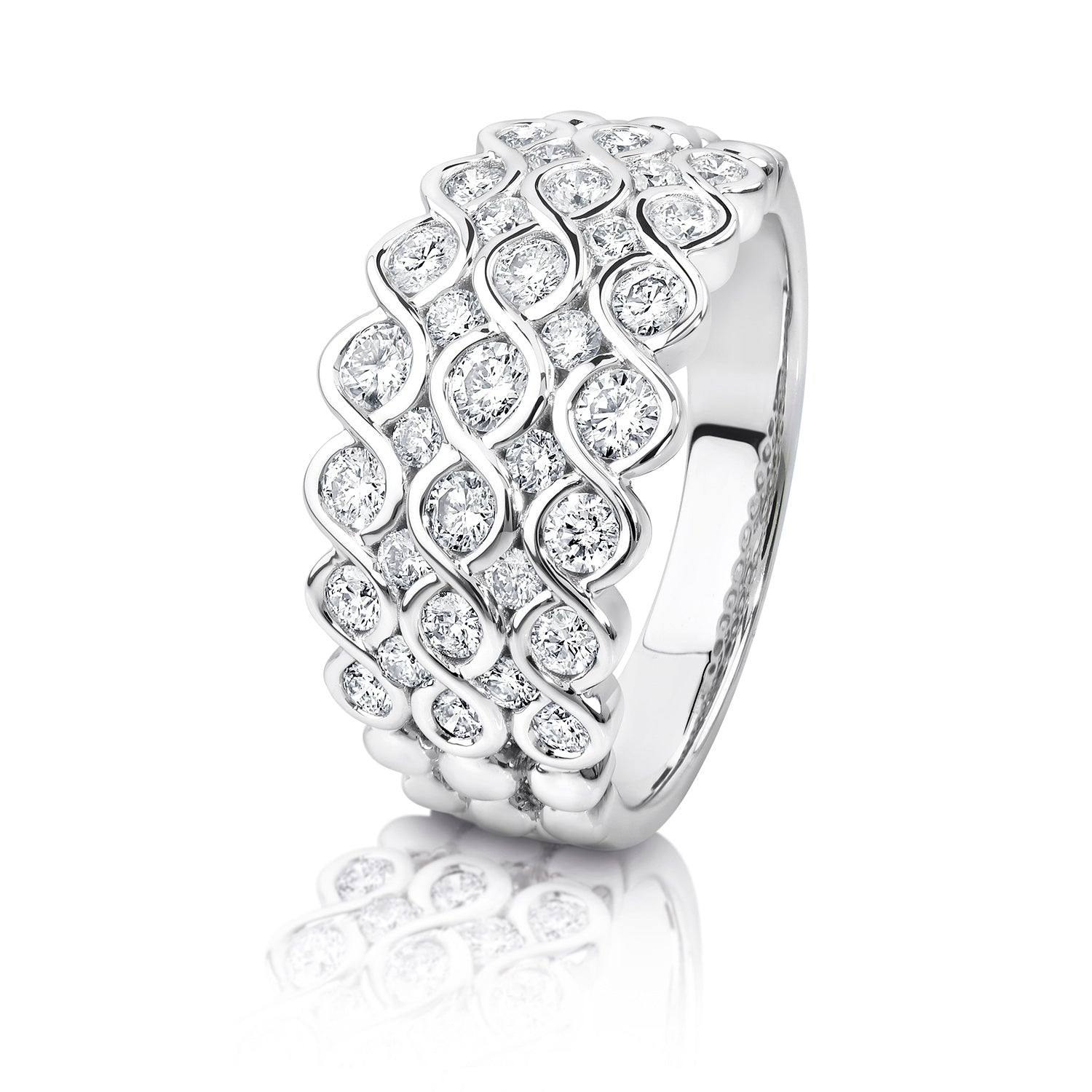 Multi row diamond dress ring set in white gold