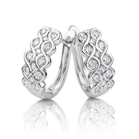 White gold multi-row diamond huggies