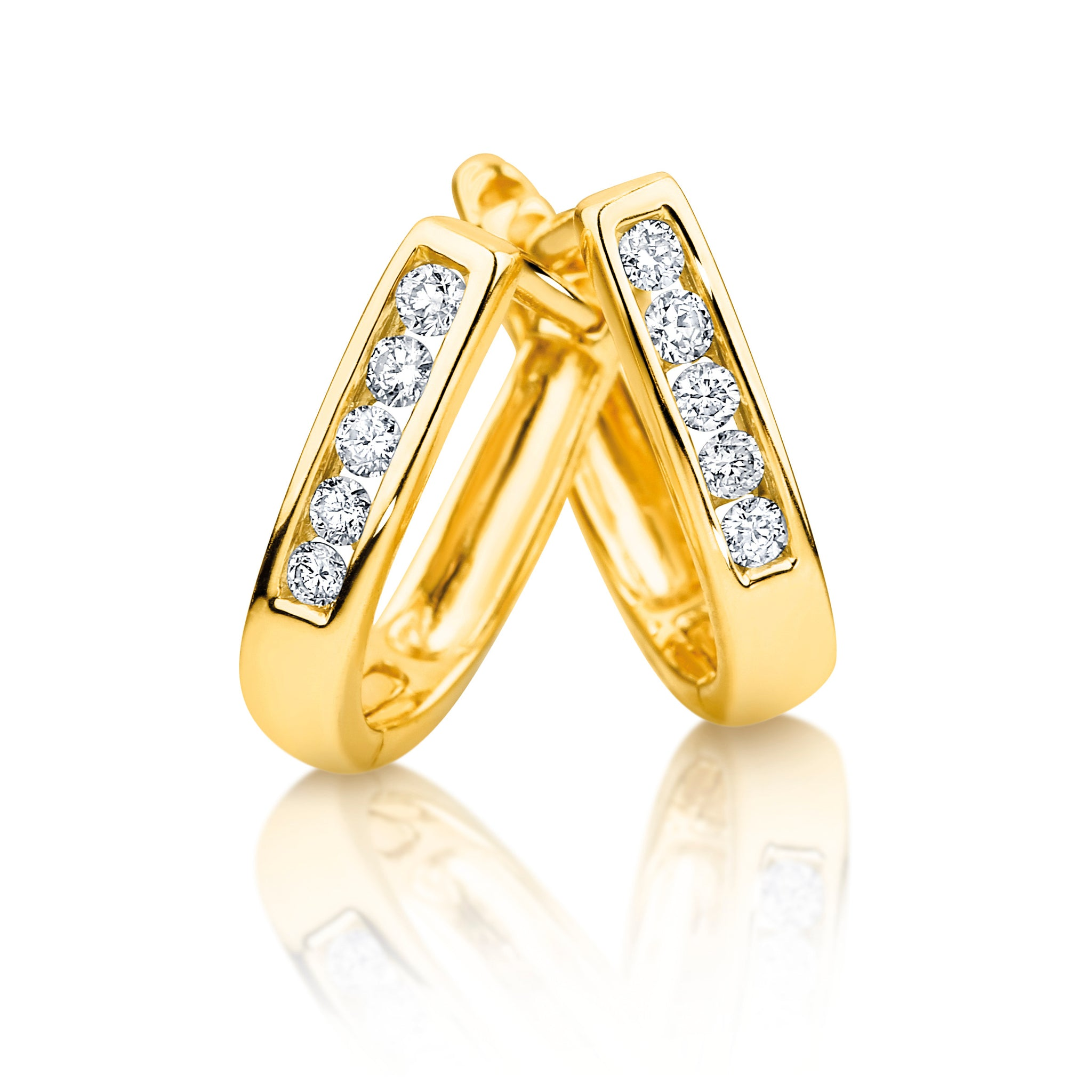 classic diamond huggie earrings, with channel-set diamonds
