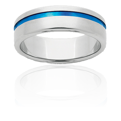 Gents 7mm Titanium band with blue inlay which is created by heating the Titanium to an extreme temperature.