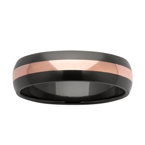Zirconium and Rose Gold Wedding Ring