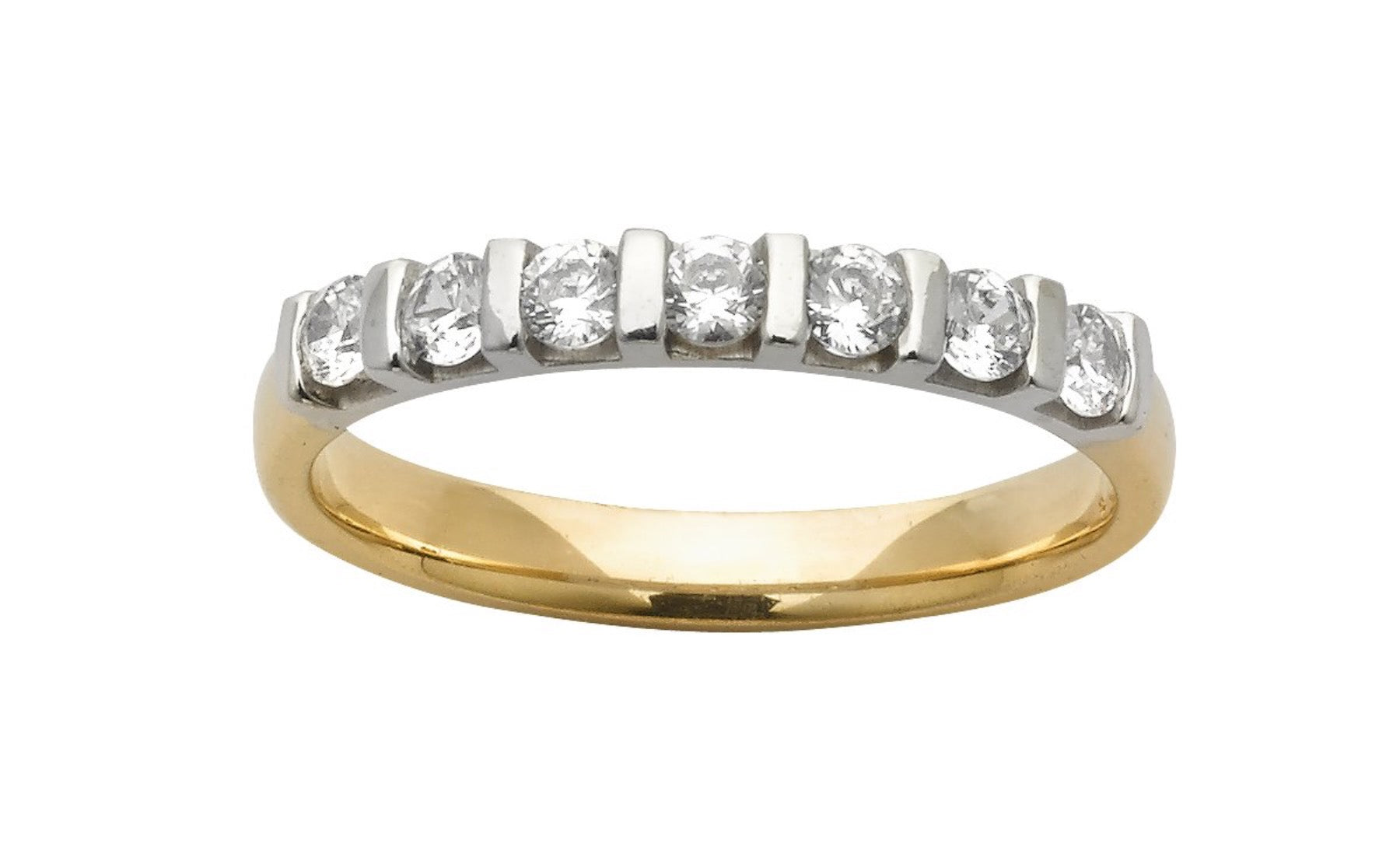 Ladies two tone wedding ring handset with ethical diamonds.  Made in new zealand.