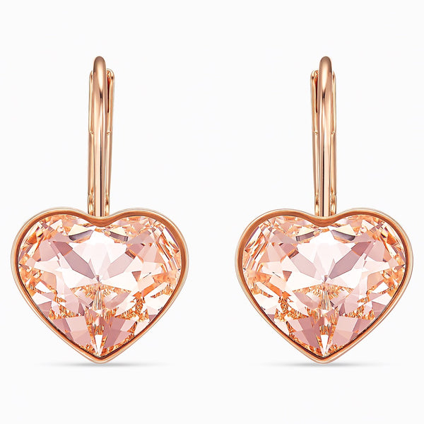Swarovski Rose Plated Bella Heart Earrings
