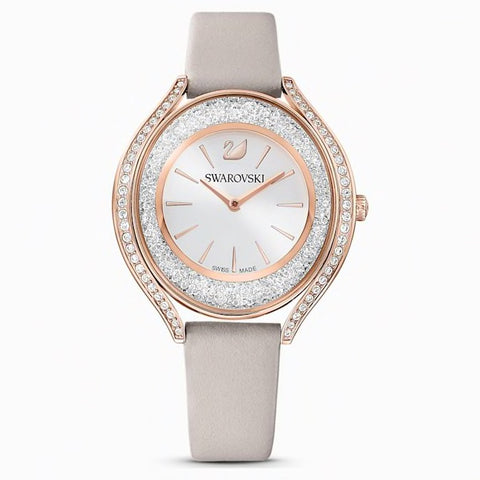 Swarovski Crystalline Aura watch in Rose Gold with a leather strap