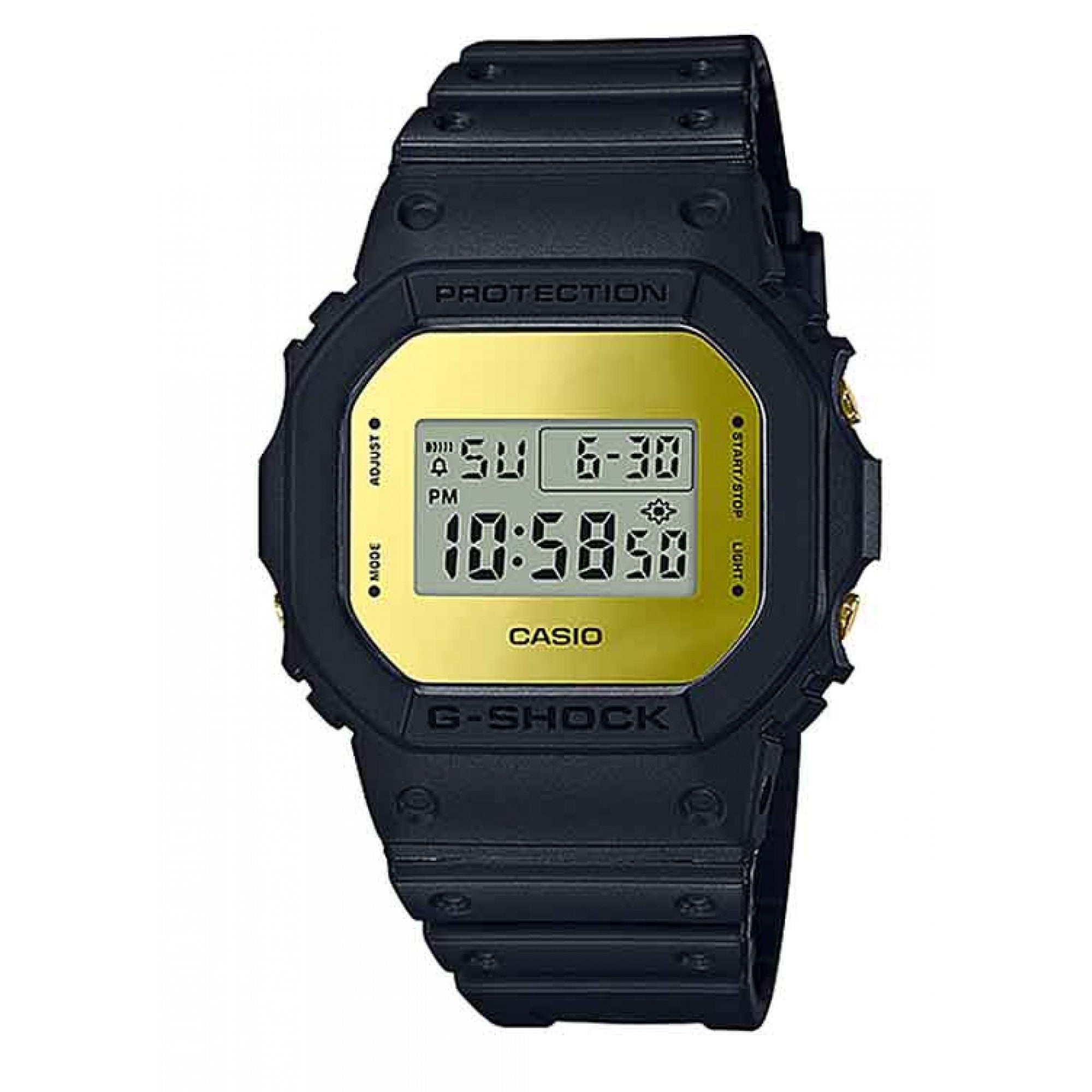 G-Shock DW-5600BBMB with gold mirror dial
