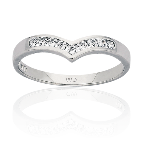 Ladies White Gold Diamond set wishbone ring at wrights jewellers pukekohe