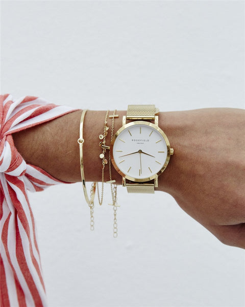Layered Bracelets and Rosefield Mercer Watch