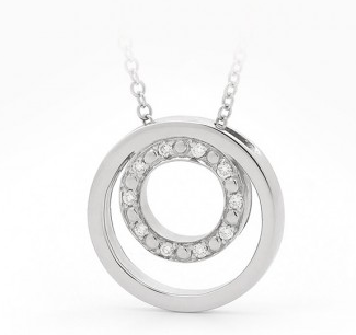 white gold circle necklace set with diamonds
