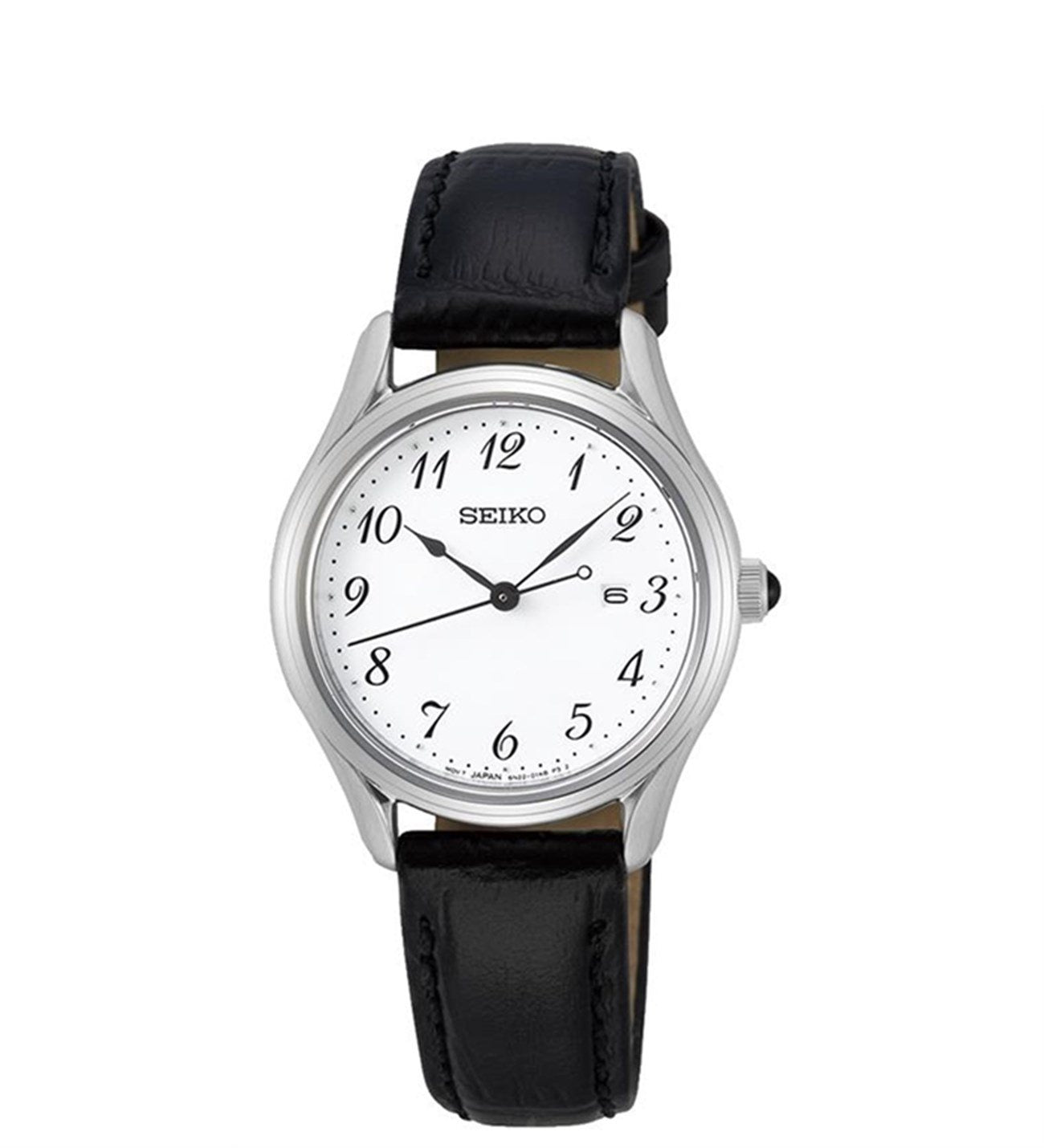 Ladies Seiko SUR639P with black leather strap