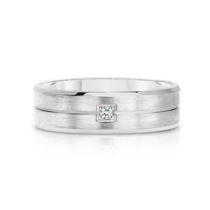 Gents white gold wedding band set with a diamond