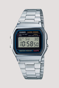 Casio retro digital watch with stainless steel band