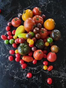 2 kg large heirlooms and 4 punnets (1 kg) of cherry toms.
