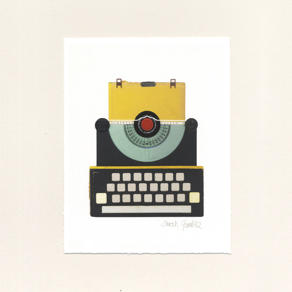 Yellow Typewriter Print - A4