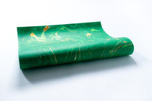 Load image into Gallery viewer, Free Spirit Emerald Hand Marbled Gift Wrap