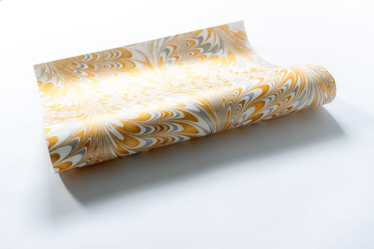 Peacock White Hand Marbled Gift Wrap