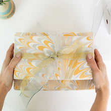 Load image into Gallery viewer, Peacock White Hand Marbled Gift Wrap
