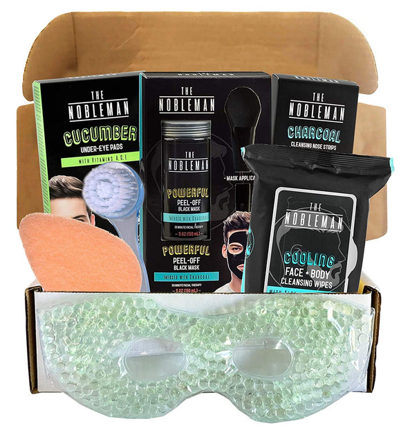 Men's Facial Kit - Includes Facial Mask, Face and Body Wipes, Nose Cleaning Strips, Under Eye Pads, and More