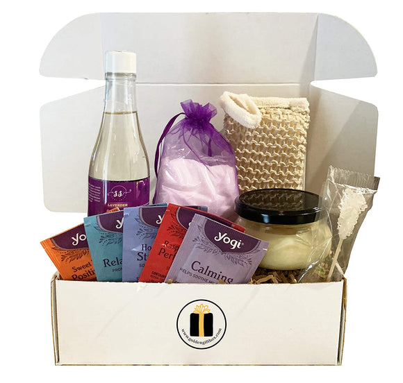 Lavender Luxury Spa Gift Baskets for Women - Bubble Bath, Bath Salts, Candle, Teas, Sponge + More (Refined Collection, 10 pieces)