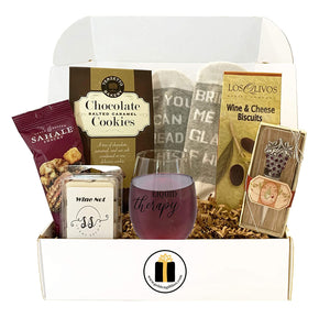Wine Lovers Gift Box - Gift Basket, Socks, Stemless Glass, Wine Snacks (Liquid Therapy)