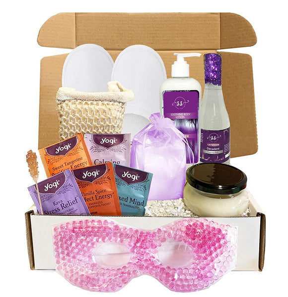 Lavender Luxury Spa Gift Baskets for Women - Bubble Bath, Bath Salts, Candle, Lotion + More (Special Edition, 13 pieces)