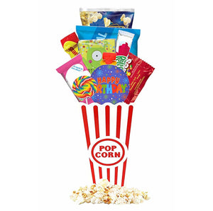 Birthday Gift Basket - Includes Popcorn Bucket, Movie Theater Popcorn, Candy Snacks Free Redbox Movie Rental Code Gift Card