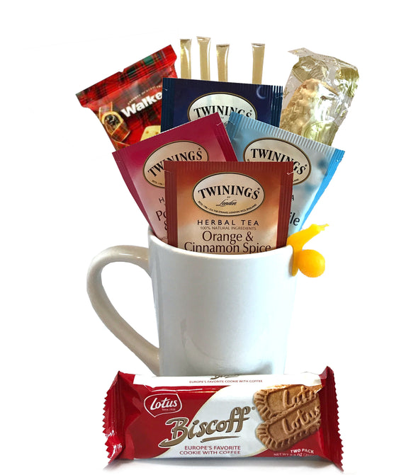 Herbal Tea Gift Set - Includes Premium Tea Cup, 4 Uniquely Blended Herbal Teas, Variety of Cookies, and All Natural Honey Straws