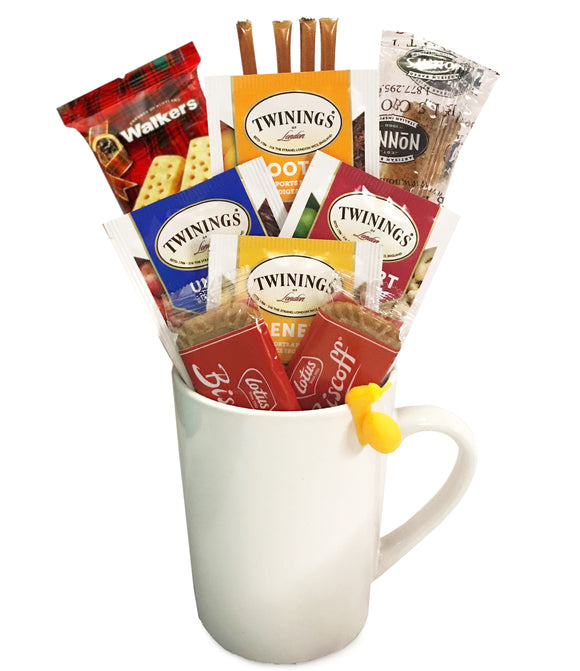 Wellness Tea Gift Set - Includes Premium Tea Cup, 4 Uniquely Blended Wellness Teas, Variety of Cookies, and All Natural Honey Straws