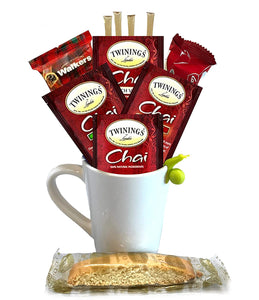 Chai Tea Gift Set - Includes Premium Tea Cup, 4 Uniquely Blended Chai Teas, Variety of Cookies, and All Natural Honey Straws