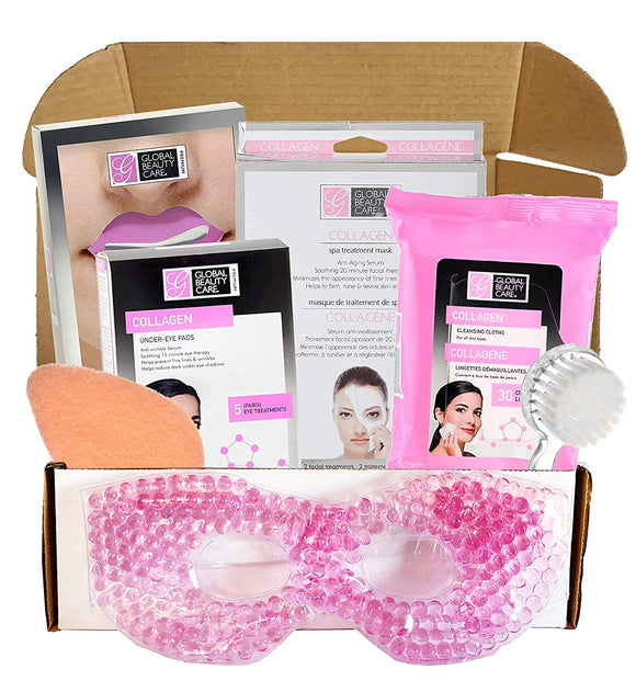 Collagen Facial Kit For Women For Men - Includes Facial Mask, Face Wipes, Lip Masks, Cleansers, Facial
