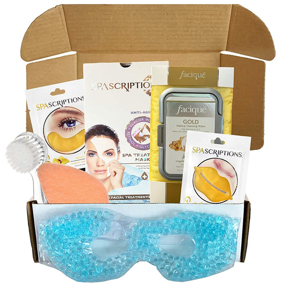 Gold Facial Kit For Women For Men - Includes Facial Mask, Face Wipes, Nose Strips, Cleansers, Facial