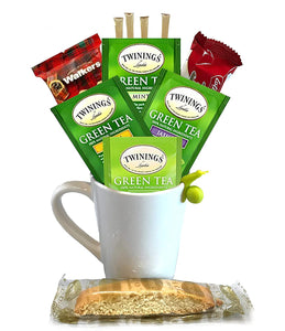 Green Tea Gift Set - Includes Premium Tea Cup, 4 Uniquely Blended Green Teas, Variety of Cookies, and All Natural Honey Straws