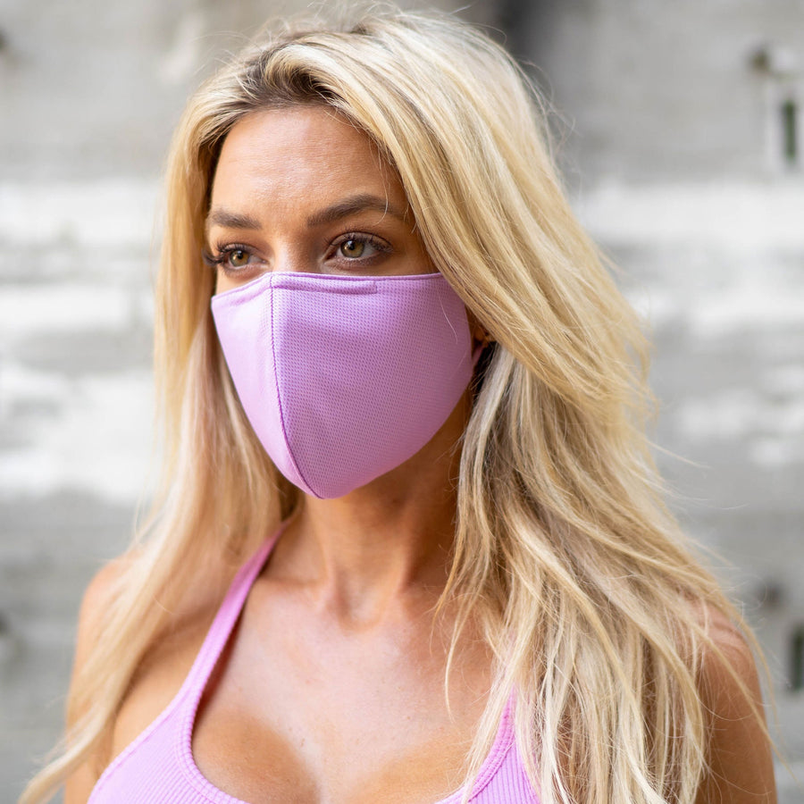 Pink Matters. 4-Pack Face Masks by V3RY | 2X Jet Black + 2X Pink Face Covers, Mauve/Lavender/Pink Hues, 3-Ply Soft Breathable with Nose Wire