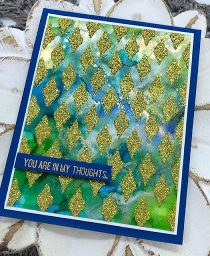 Gold Glitter Aztec Diamond Stencil Card by Eva