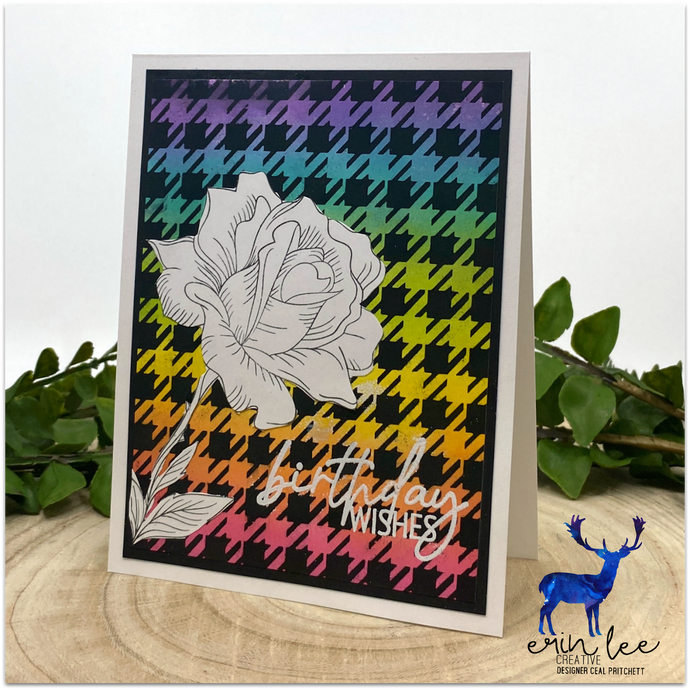 Sketched Floral Houndstooth Card by Ceal