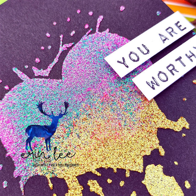 You Are Worthy Glitz Glitter Card by Lynnea