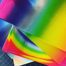 "Load image into Gallery viewer, Rainbow Holographic Pack 8.5"" x 11"" Cardstock (Set of 9 sheets)"