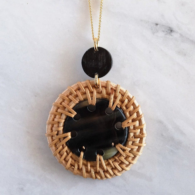 Buffalo Horn and Rattan Pendent Necklace