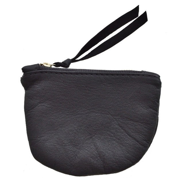Soft leather black pouch 8x6 made by artisans in Haiti through educational programs that provide fair wages and self-independence with generational change
